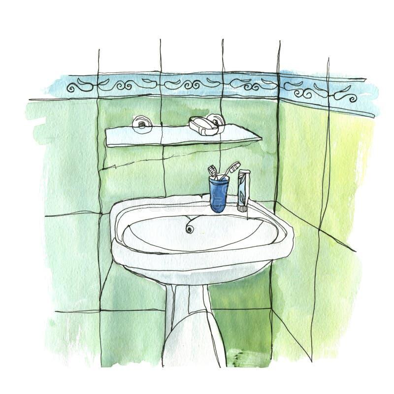 El fregadero en el cuarto de baño imagen de archivo