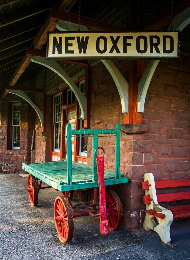 El frente de la estación de tren en nueva Oxford, Pennsylvania foto de archivo libre de regalías