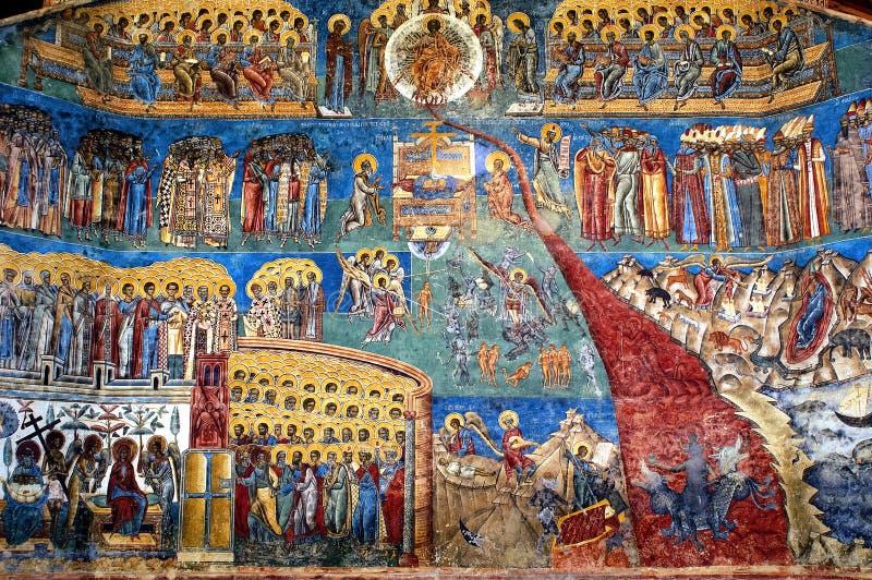 El fresco Voronet, Rumania del día del Juicio Final foto de archivo libre de regalías
