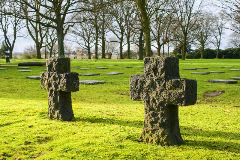 El friedhof alemán del cementerio en los campos de Flandes menen Bélgica fotos de archivo libres de regalías