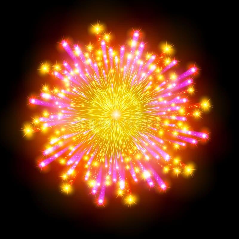El fuego artificial modelado festivo que estallaba en pictogramas chispeantes de las diversas formas fijó contra aislante negro d libre illustration