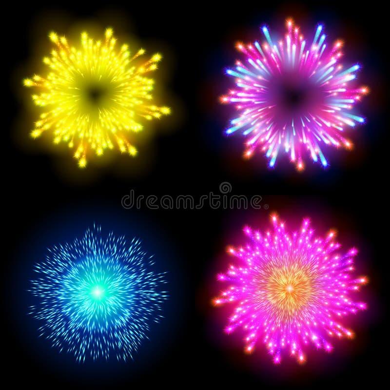 El fuego artificial modelado festivo que estallaba en pictogramas chispeantes de las diversas formas fijó contra aislante negro d stock de ilustración