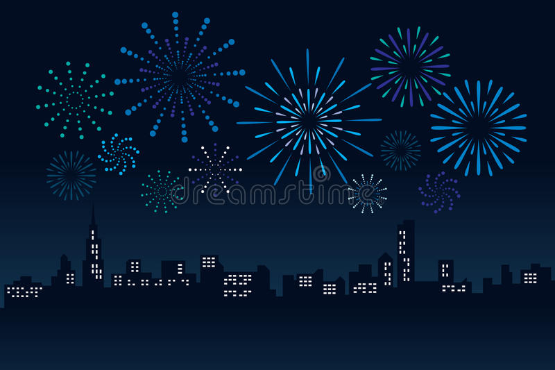El fuego artificial y el edificio del paisaje urbano en el ejemplo del vector de la escena de la noche diseñan stock de ilustración