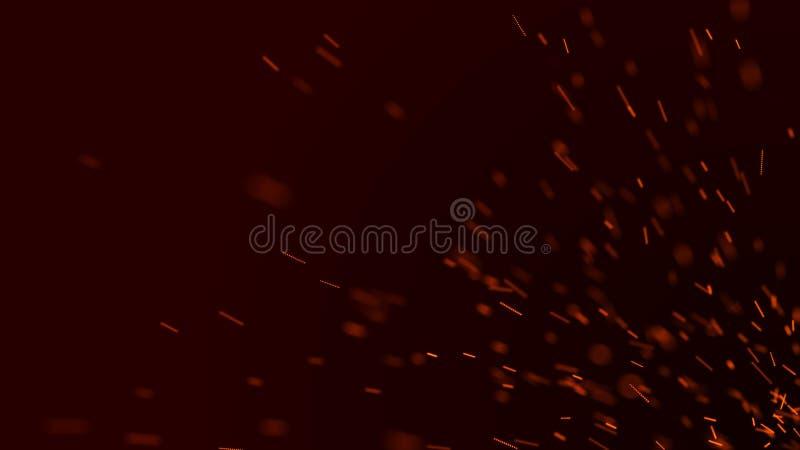 El fuego chispea el fondo Chispas rojas ardiendo El vuelo del fuego chispea Luz brillante borrosa representaci?n 3d stock de ilustración