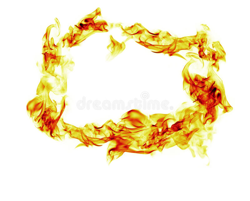 El fuego flamea el marco en el fondo blanco imagen de archivo