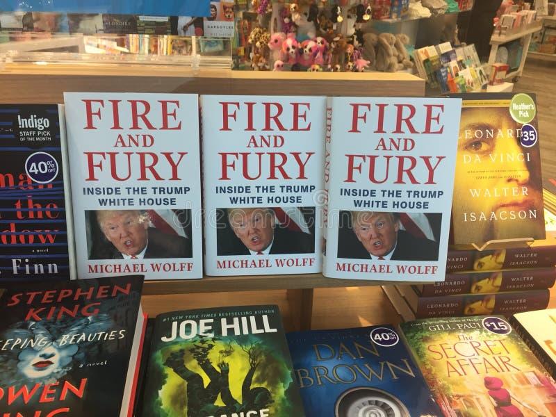El fuego y la furia polémicos del libro que ofrecen a Donald Trump ofrecido prominente conforme a una lista de lectura del invier imagen de archivo