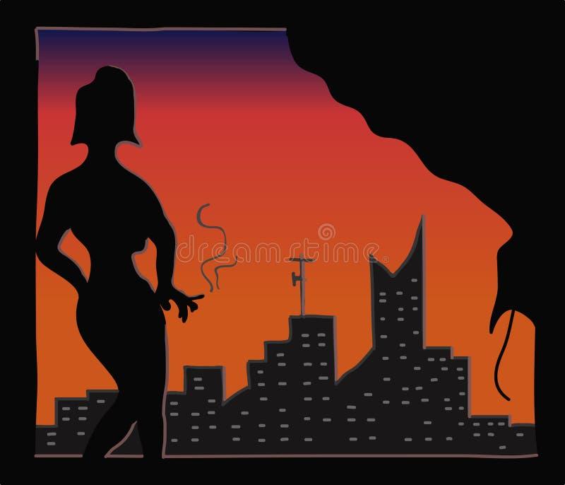 El fumar atractivo de la señora ilustración del vector