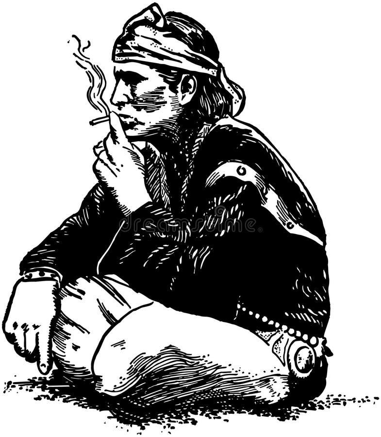 El fumar indio ilustración del vector