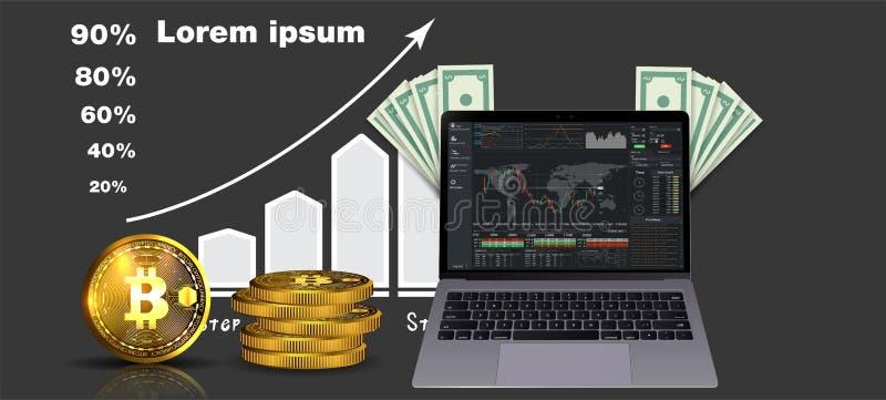 El funcionamiento financiero, informe de la estadística, impulsa la productividad del negocio, fondo mutuo, rentabilidad de la in stock de ilustración