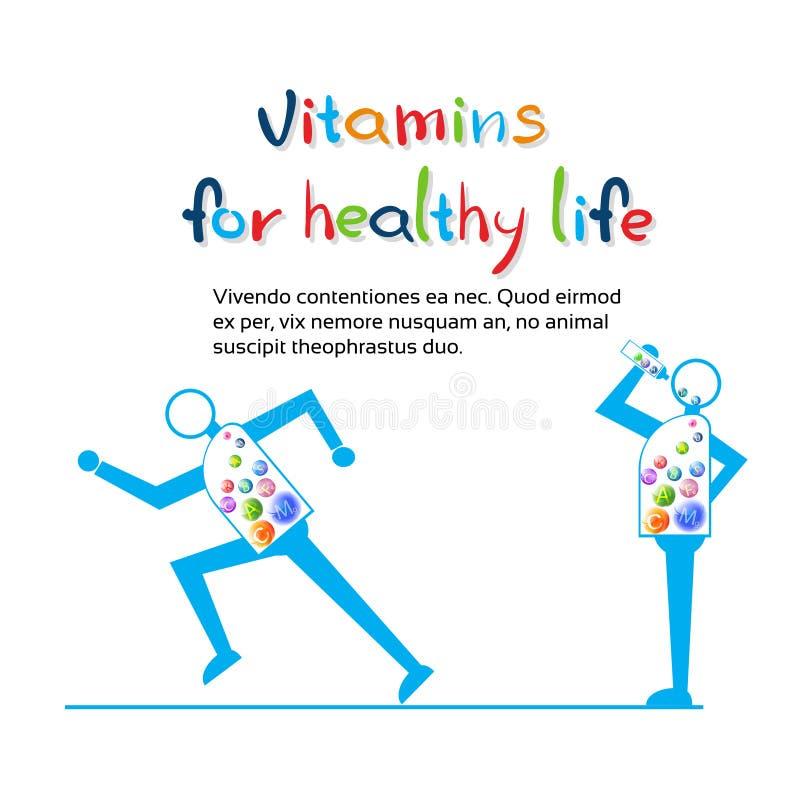El funcionamiento fuerte del personaje de dibujos animados, come la bandera sana de la vida de las vitaminas con el espacio de la ilustración del vector