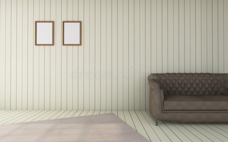El funcionamiento y la sala de estar /3D moderno rinden el vintage del lujo de la imagen stock de ilustración