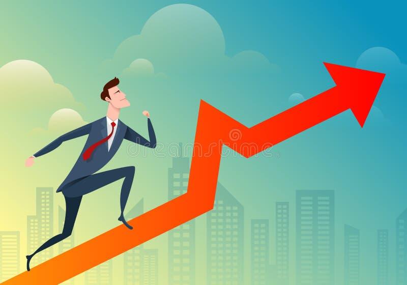 El funcionamiento y el salto del hombre de negocios pasan el gráfico en el fondo de la ciudad Negocio del ejemplo del vector ilustración del vector