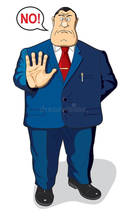 El funcionario, el burócrata o el hombre de negocios dice no imagen de archivo libre de regalías