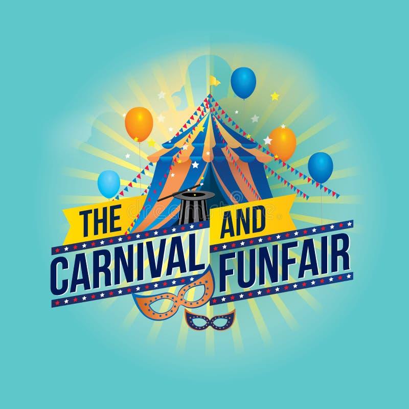 El funfair del carnaval y la demostración mágica stock de ilustración