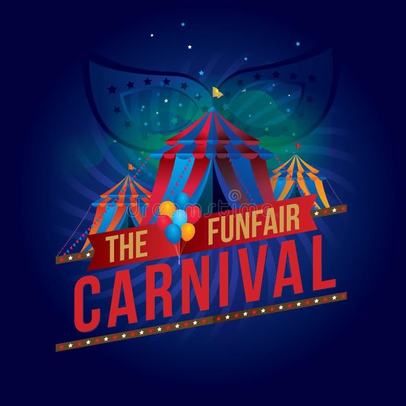 El funfair del carnaval y la demostración mágica ilustración del vector
