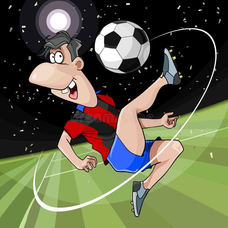 El futbolista alegre de la historieta golpea la bola con el pie en el campo libre illustration