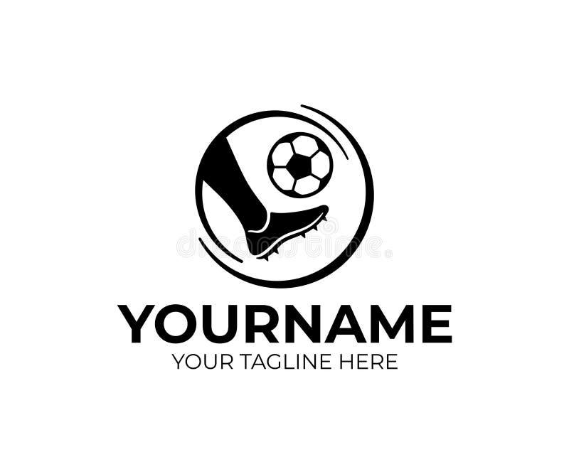 El futbolista con la bola, futbolista golpea la bola con el pie, diseño del logotipo Fútbol o fútbol, diseño del vector stock de ilustración