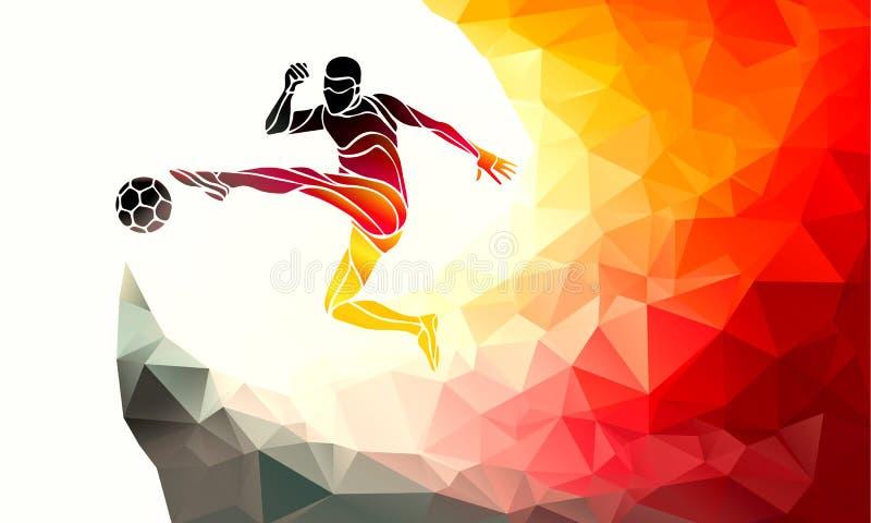El futbolista golpea la bola con el pie en colores alemanes de la bandera Fútbol - plantilla libre illustration