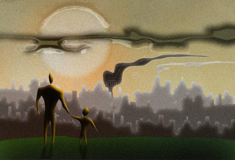 El futuro de la tierra está en sus manos ilustración del vector