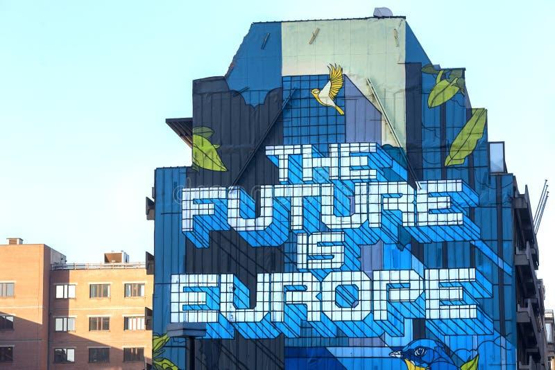 El futuro es pintada de Europa en Bruselas Bélgica imágenes de archivo libres de regalías