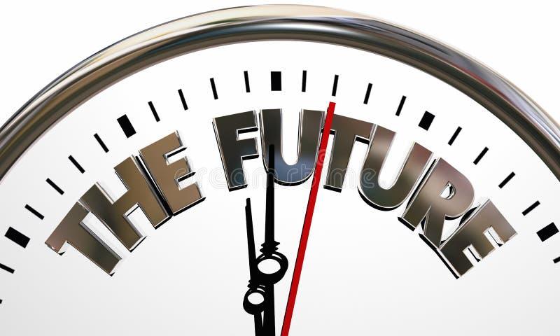 El futuro que viene después ejemplo 3d del tiempo de reloj mañana stock de ilustración