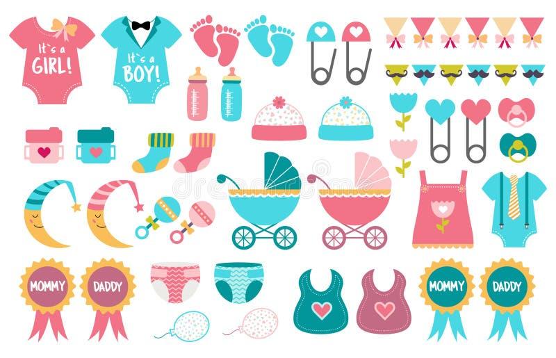 El género del sistema del vector del icono de la fiesta de bienvenida al bebé revela el partido ilustración del vector