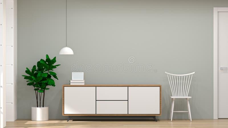 El gabinete de madera blanco moderno de la TV, silla, lámpara en hogar interior del ejemplo del fondo 3d del sitio vacío diseña,  stock de ilustración