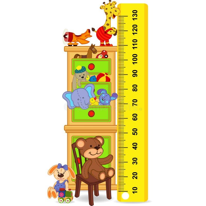El gabinete de madera con los juguetes mide el crecimiento del niño ilustración del vector