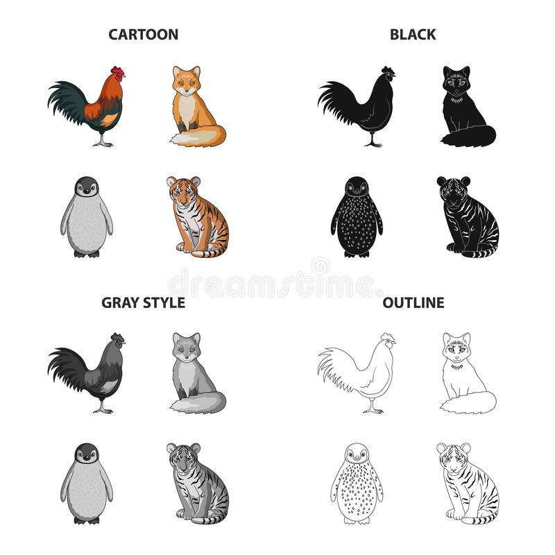 El gallo, el zorro, la cola, y el otro icono del web en estilo de la historieta Animales, pájaro, nacional, iconos en la colecció libre illustration
