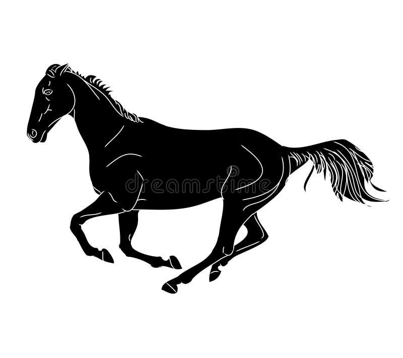 El galope del caballo 0 (mono) ilustración del vector