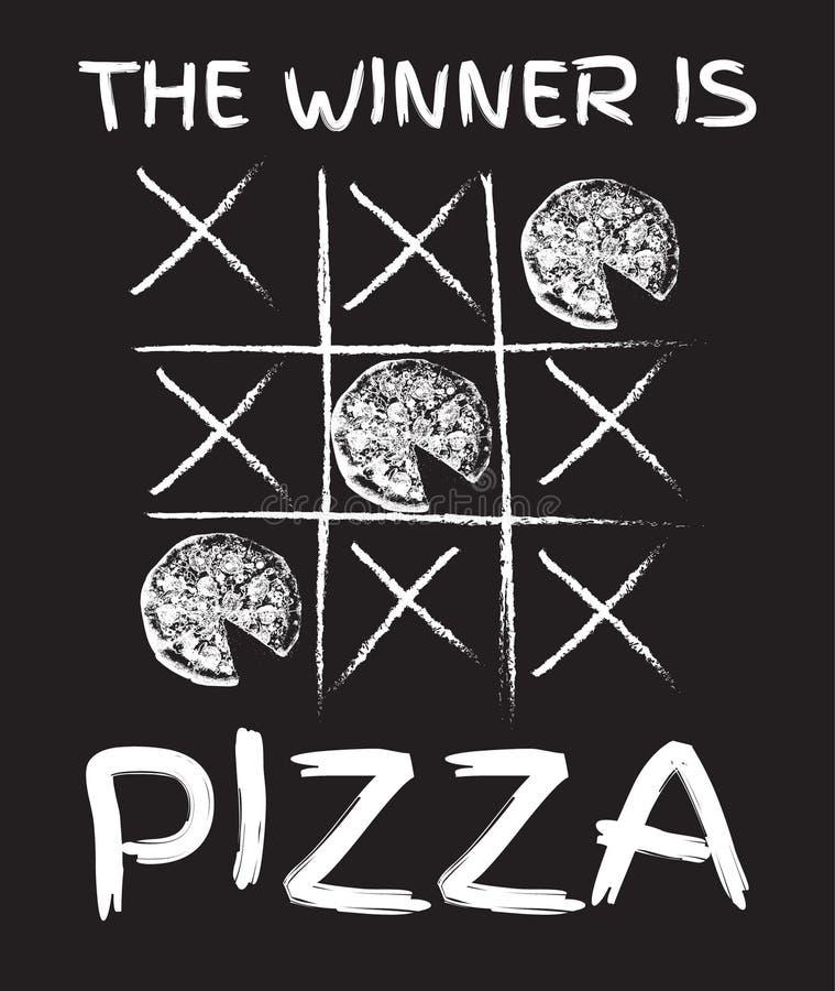 El ganador es pizza Vector el ejemplo dibujado mano de la pizza con la inscripción libre illustration