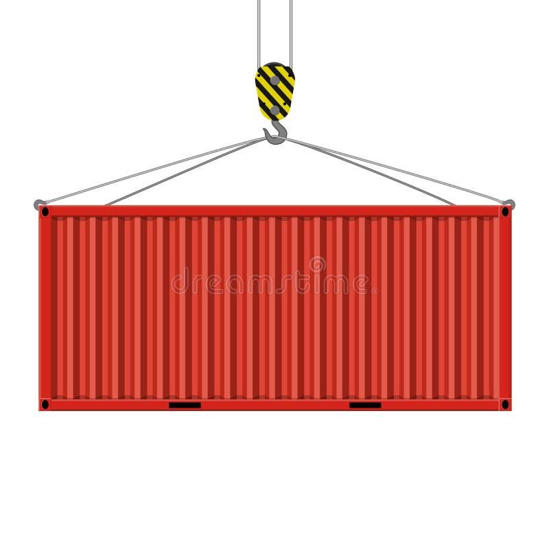 El gancho de la grúa levanta el envase del metal stock de ilustración