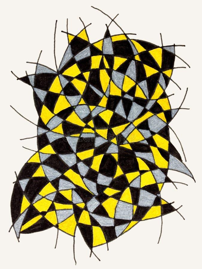 El garabatear con las líneas y tres colores libre illustration