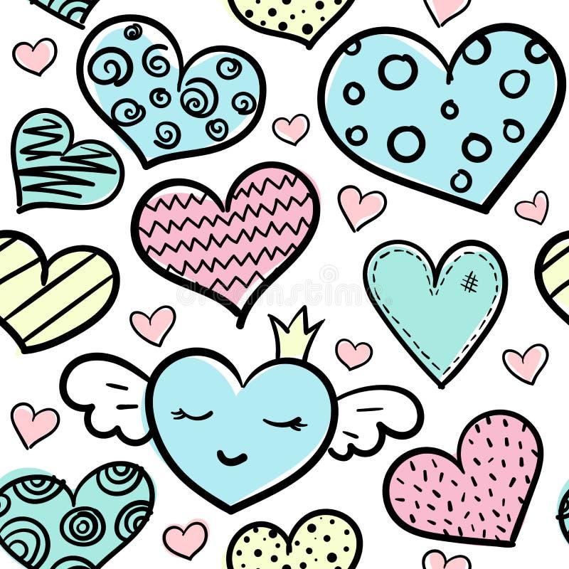 El garabato coloreó el modelo inconsútil de los corazones ilustración del vector