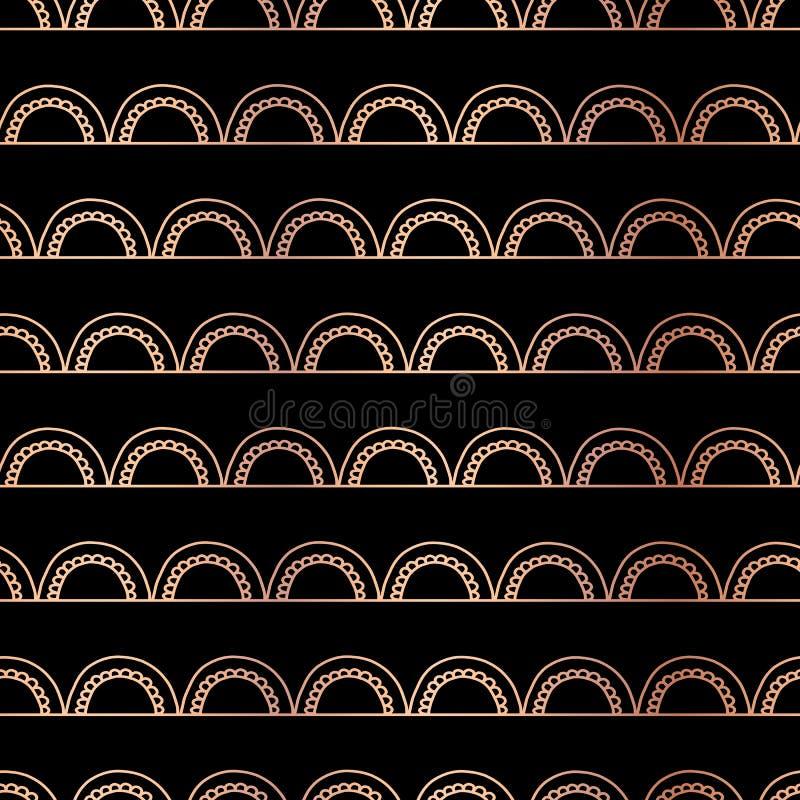 El garabato de la hoja de oro de Rose forma arcos fondo geométrico inconsútil del extracto del vector Arcos de cobre en negro Bri ilustración del vector