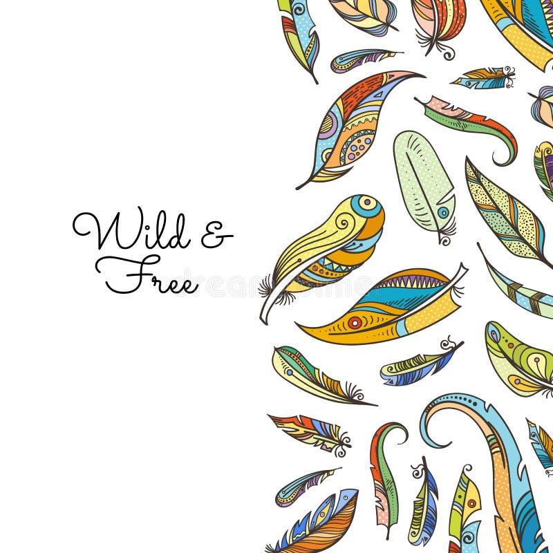 El garabato del boho del vector coloreó el ejemplo del fondo de las plumas libre illustration