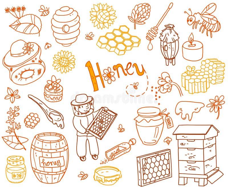 El garabato del elemento de la miel del vector fijó con la colmena, apicultor, flores ilustración del vector
