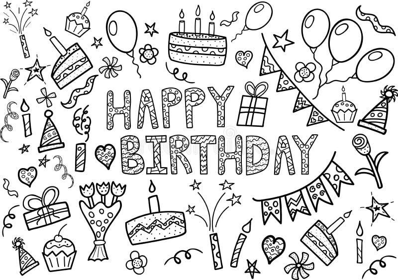 El garabato del feliz cumpleaños fijó con los elementos dibujados mano libre illustration