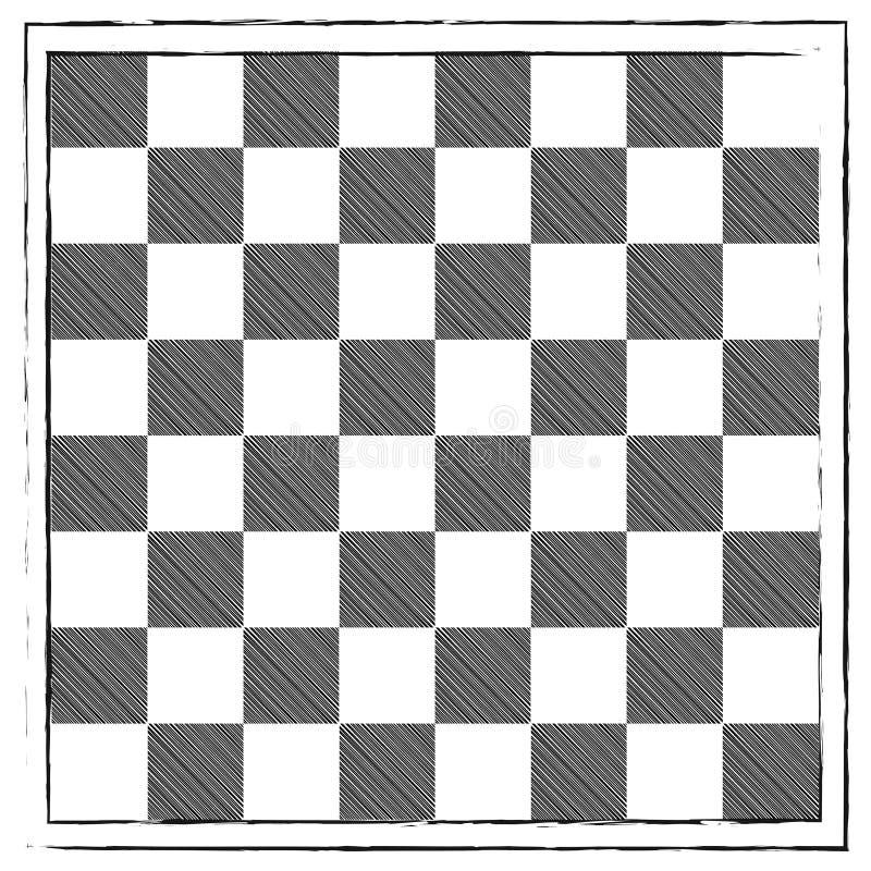 El garabato dibujado mano del grabado del vintage del tablero de ajedrez garabatea libre illustration
