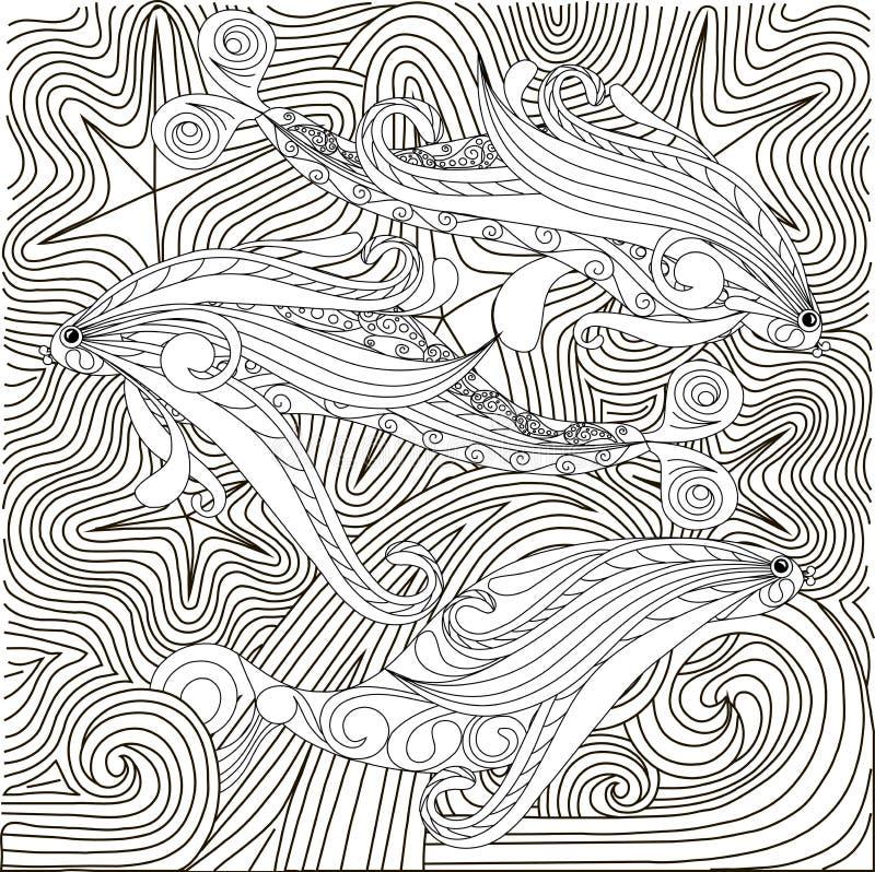 El garabato dibujado mano pesca en las ondas, página anti del colorante de la tensión stock de ilustración