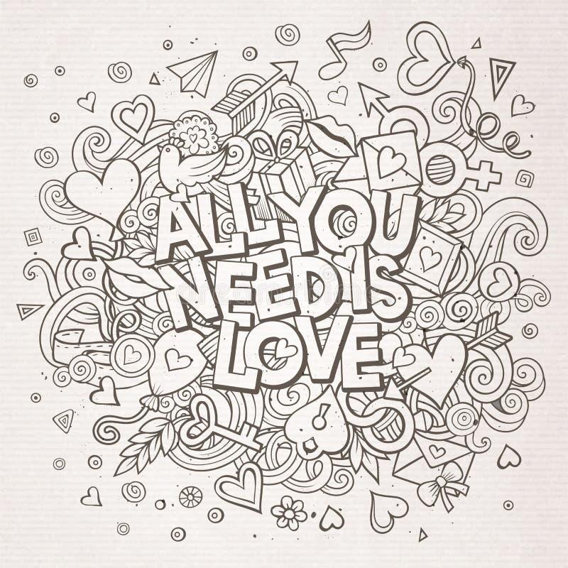El garabato dibujado mano todo de la historieta que usted necesita es amor libre illustration