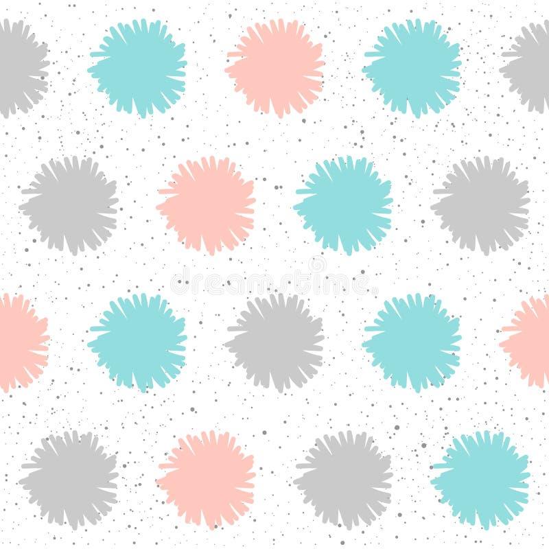 El garabato forma el fondo inconsútil Elementos grises, azules y rosados stock de ilustración