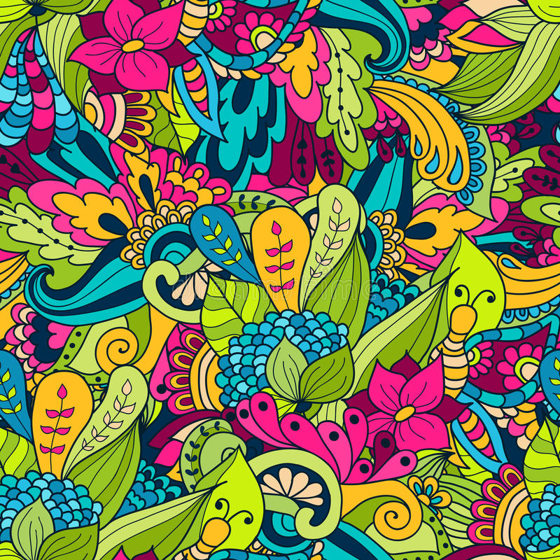 El garabato a mano agita el estampado de flores, hojas del verde del extracto libre illustration