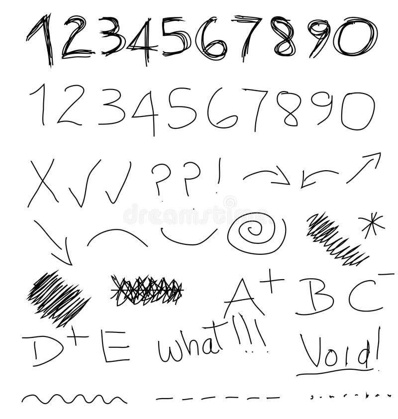 El garabato numera símbolos stock de ilustración