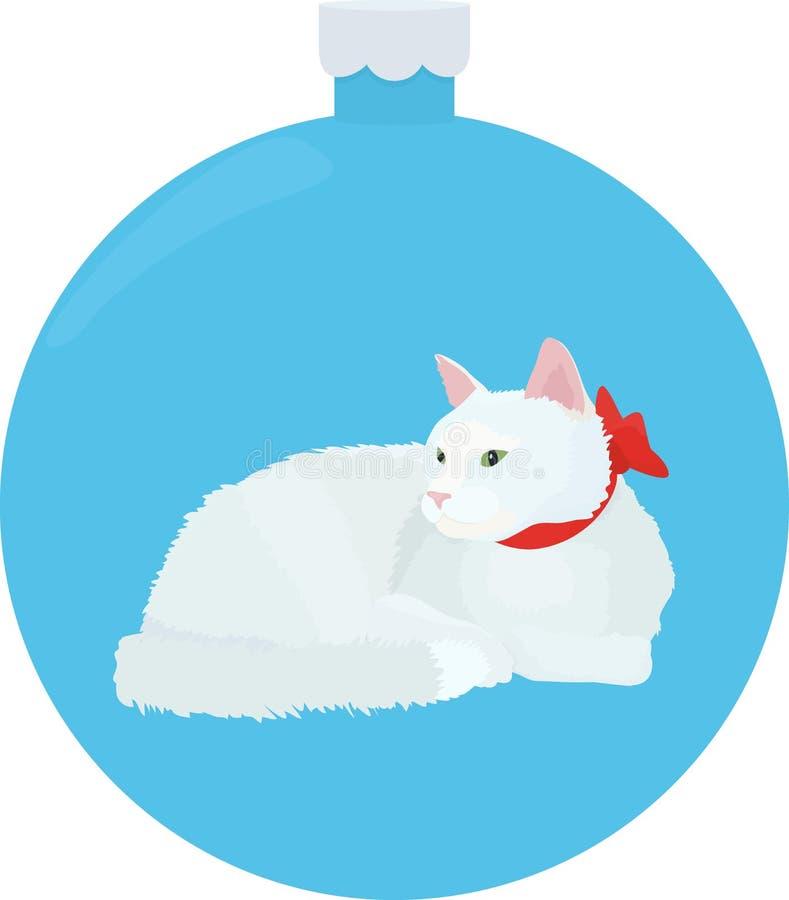 El gato blanco coloca en el fondo azul ilustración del vector
