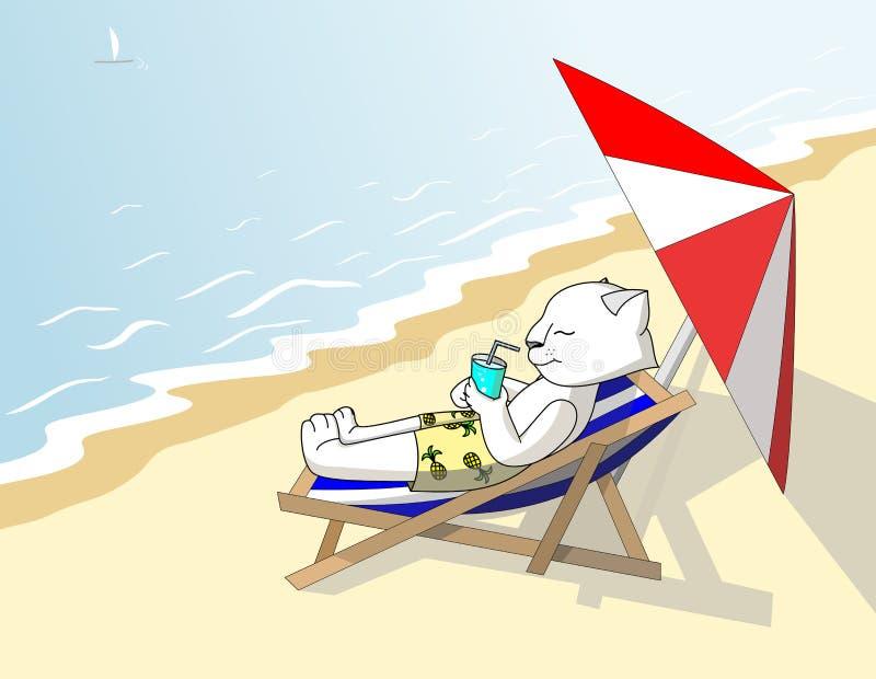 El gato blanco en pantalones cortos con las piñas toma el sol en la playa debajo de un sillón stock de ilustración