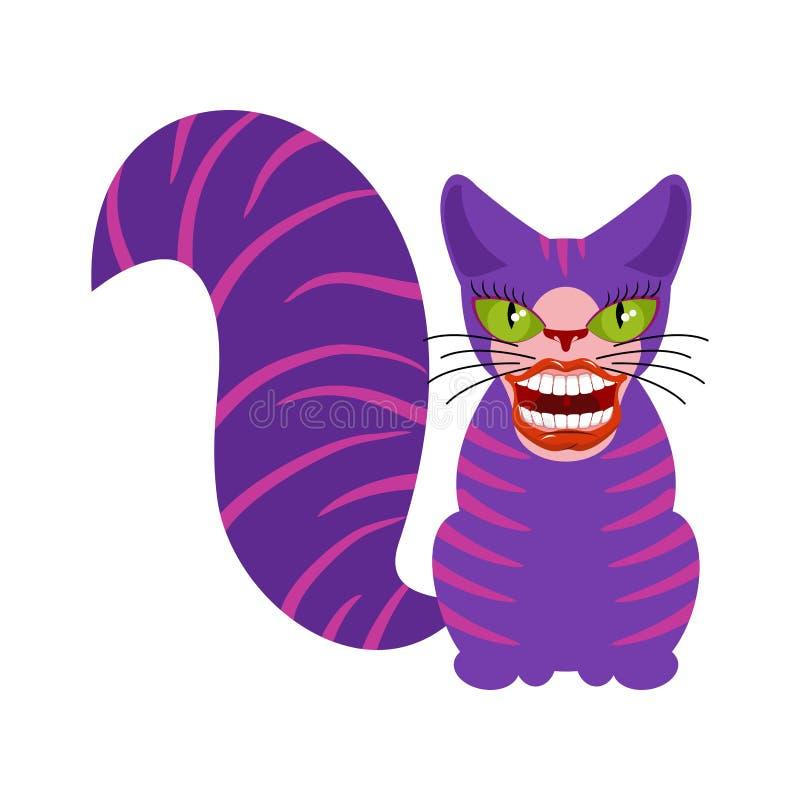 El gato de Cheshire es un animal de Alicia en el país de las maravillas Sonrisa amplia stock de ilustración