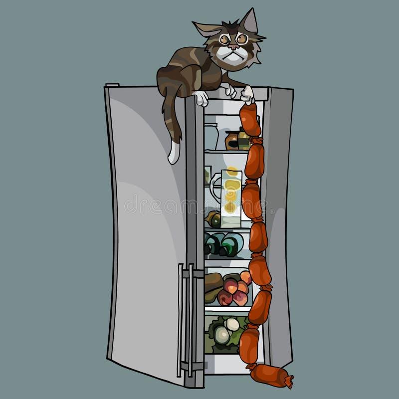 El gato de la historieta robó las salchichas de un refrigerador abierto ilustración del vector