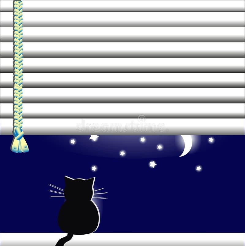 El gato en la ventana que mira la luna y las estrellas ilustración del vector