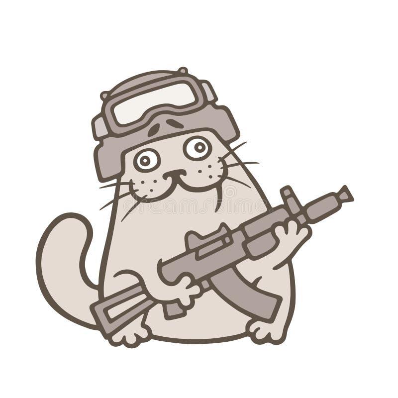 El gato gordo lindo es combatiente del golpe violento Ilustración del vector ilustración del vector